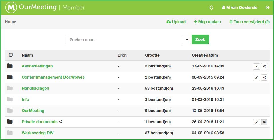 Webview voor stukken met leesrestrictie: mappen
