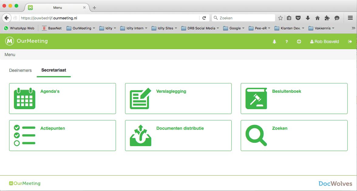 Voordelen voor secretaresses - OurMeeting dashboard