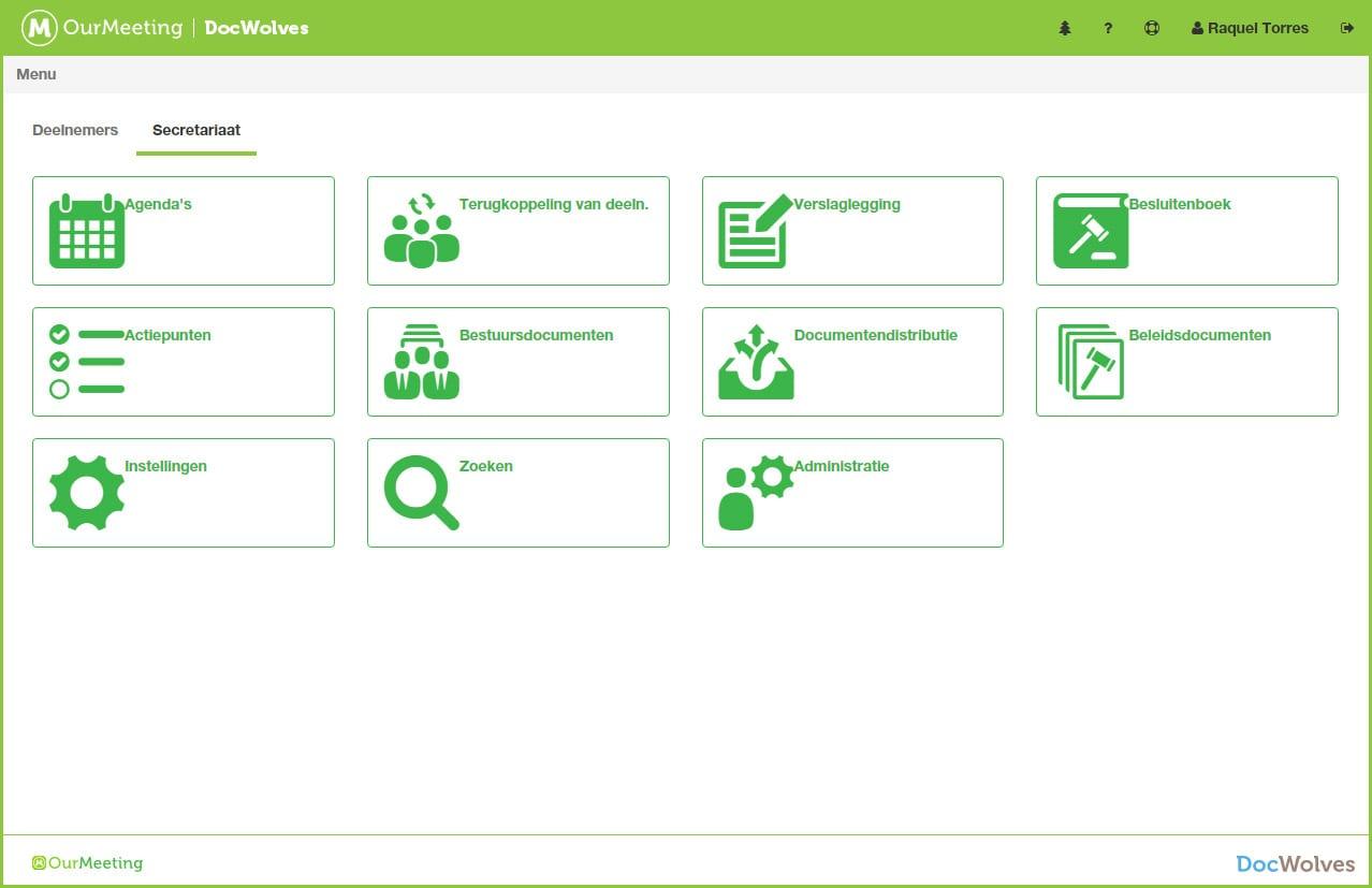 Screenshot menu vergaderorganisator OurMeeting papierloos vergaderen