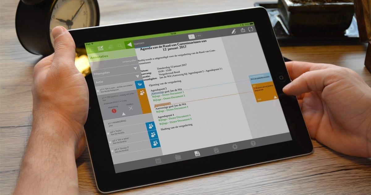 De OurMeeting vergader app | Gedeelde en persoonlijke annotaties view