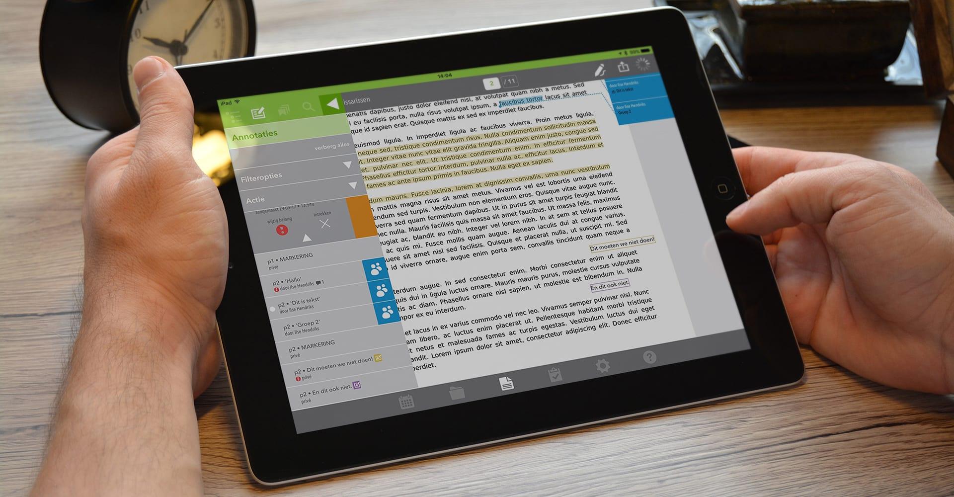 Vergaderapp in iPad