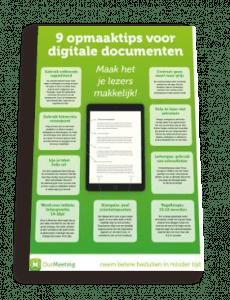 Poster 9 opmaaktips voor digitale documenten | OurMeeting papierloos vergaderen
